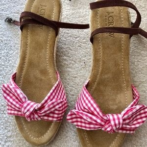 🎀J.CREW PINK GINGHAM ESPADRILLES W/SUEDE STRAPS